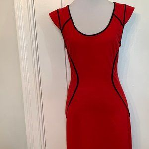 Express red with black trim sleeveless dre…